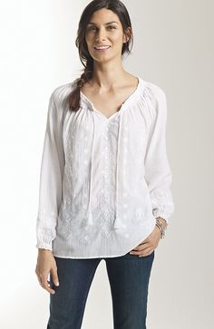More prettiness:  embroidered peasant blouse at J.Jill