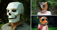 U.K.-based designer Steve Wintercroft has a collection of bizarre geometrical paper masks for Halloween revelers that can be printed out (for a price) and assembled by you right at home.