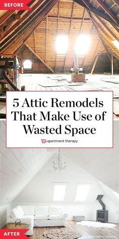 Here are five attic remodel ideas to take advantage of unused space. #atticremodel #atticideas #awkwardspaces #nook #remodelingideas #atticdecor #atticrenovations #bedroomattic #aframeceiling Attic Rooms, Attic Spaces, Attic Playroom, Small Spaces, Attic Renovation, Attic Remodel, Airy Bedroom, Small Attics, Workspace Design