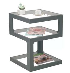 Small Side Table Modern Glass Storage Shelves Coffee Tables Living Furniture New