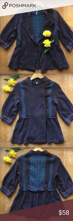 Free People Peplum Wool Blend Cardigan 🌼 Beautiful Free People plum, royal blue and ruby Nordic cardigan sweater. Features 3/4 sleeves, wrapped single breasted peplum style.  Wool blend and very soft.  In excellent, gently used condition. Free People Sweaters Cardigans
