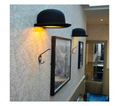 The Jeeves Bowler Hat wall light is a classic gentleman`s bowler that looks like it has been thrown very hard at a wall! Felt hat and gold interior - designer. Interior Dorado, Gold Interior, Cool Lighting, Lighting Design, G9 Led Bulb, Mood Lamps, Hollywood Mirror, Lampshades, Florida