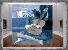 Tercera obra. Nombre: EL GUITARRISTA CIEGO Fecha: 1903 Estilo: Cubismo. Etapa Azul de Picasso Técnica: Óleo sobre tabla Medidas: 1,23 m x 83 cm Autor: Pablo Ruiz PICASSO Museo: Art Institute, Chicago.