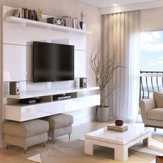 Manhattan Comfort City 1.8 Floating Wall Theater Entertainment Center for TVs up to 70 inch, Multiple Colors, White