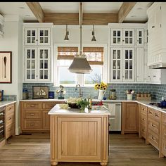 New Home Interior Design: The Ultimate Beach House - love the lower brown cabinets with the blue tile and white upper cabinets Home Kitchens, House Rooms, Beach House Kitchens, Beach Kitchens, Kitchen Design, Sweet Home, Kitchen Redo, Beautiful Kitchens, Home Decor