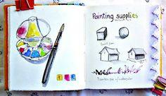 limited palettes for journaling  1. permanent rose 2. ultramarine blue 3. hansa (lemon) yellow ------ 4. hookers green 5. manganese blue ------ 6. cobalt violet 7. phthalo yellow green ----- 8. cadmium yellow 9. burnt sienna