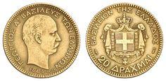 Greece, 20 drachm 1884, ss