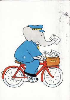 Printin the corner of an A4 page, and then write someone a letter! Babar posman illustration by Laurent de Brunhoff