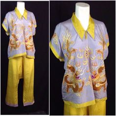 Vintage 1920s 30s Purple Gold Novelty Print Dragon Asian Beach Pajamas Set XL  | eBay