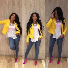 Wardrobe Query: Angela Simmons's Jojo Simmons Baby Shower Vince Camuto Yellow Asymmetrical Mod Scuba Jacket and Brian Atwood Pink Silk Pumps