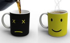 Love this - add coffee and the face changes from frown to smile! Cool!