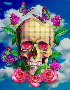 - Skeleton Skull Rose Diamond Painting Embroidery Diy Cross Stitch Home Decor & Garden Sugar Skull Tattoos, Sugar Skull Art, Sugar Skulls, Day Of The Dead Art, Skull Artwork, Skull Drawings, Butterfly Cross Stitch, Skull Wallpaper, Butterfly Pictures