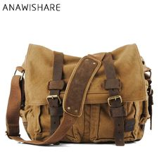ANAWISHARE Canvas Leather Crossbody Bag Men Military Army Vintage Messenger  Bags Large Shoulder Bag Travel Bags 6aa59b226aa7