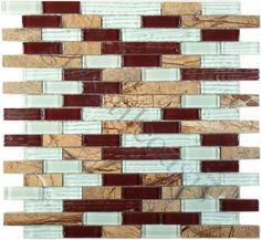 Fusion  Crystile Blends, Random Bricks, Rainforest Brown, Glossy, Brown, Glass and Stone