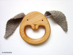Teething Toy - Wooden Teether - Eco-Friendly Baby Toy - Safe Infant Toy - Rabbit - Bunny ear teether