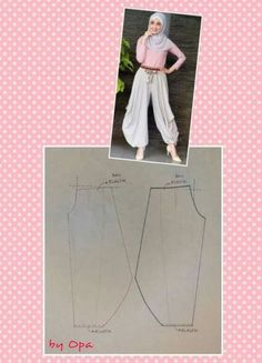 Ideas For Sewing Clothes Pants Costura Sewing Pants, Sewing Clothes, Girls Dresses Sewing, Dress Sewing Patterns, Clothing Patterns, Fashion Sewing, Diy Fashion, Harem Pants Pattern, Pattern Cutting