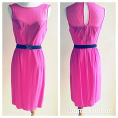 """CLST CLROUT SALE!BCBG Silk Dress BCBG pink (""""begonia"""") silk dress with black elastic belt. Fun/classic/flirty all in one dress. Adorned belt mixes girly with a little edgy. Zipper in back and button behind neck. Slit in back still sewn shut. Never worn but somehow has 2 tiny spots on the front chest (pictured). Also has small snag on left shoulder (impossible to pick up in pics). Both are really minor and not noticeable unless looking closely but I'm still selling it at discount. Great deal…"""