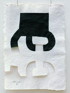 """Chillida' works on paper. """"He drew with ink on Mexican bark paper, sometimes layers of paper, sometimes with cut-outs and he presented his drawings, called Gravitaciónes, suspended on threads. Collages, Collage Art, Spanish Art, Abstract Words, Contemporary Abstract Art, Painting & Drawing, Paper Art, Graphic Art, Illustration Art"""