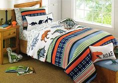 Toddler Bedding 2pc Quilt Set Prehistoric Pals Jurassic Print Cotton Reversible Plaid Bedspread Twin Quilt Dinosaurs Dinos Boys Bedding Coverlet Charles Street http://www.amazon.com/dp/B014RGB3NU/ref=cm_sw_r_pi_dp_cHw9vb111FMRT