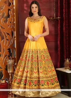 Shop yellow silk designer anarkali style gown , freeshipping all over the world , Item code Party Wear Gowns Online, Gown Dress Online, Party Gowns, Salwar Kameez, Churidar, Designer Anarkali, Designer Gowns, Designer Wear, Wedding Wear