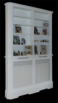 radiator cover with bookcase | bookcase above radiator cover | made to measure radiator covers with bokkcase above