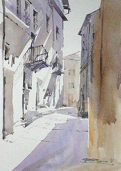 Rafał Rudko (Poland) a street in Italy. watercolor. 30 x 21 cm.