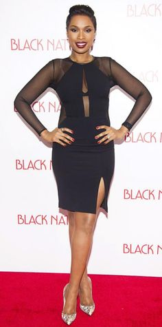 NOVEMBER 19, 2013 Jennifer Hudson WHAT SHE WORE Hudson proved that a LBD is never boring, choosing a long-sleeve mesh dress with a keyhole detailing and a sexy thigh-high slit. She teamed her look with diamond studs, a gold ring and multicolored pumps.