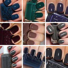 OPI Ski Teal We Drop // Essie Going Incognito // Essie No More Film  // Essie Carry On // Essie Hot Cocoa // Essie Power Clutch // Essie Cashmere Bathrobe // Essie Bobbing for Baubles // Essie After School Blazer