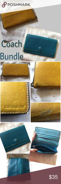 Coach Wallet Bundle These wallets have been heavily used but have no holes, no tears, and no rips. They can be cleaned with leather cleaner and look a lot better. But I'm just selling as is. Coach Bags Wallets