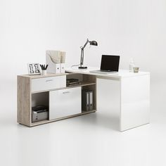 Dalton Corner Computer Desk In Sand Oak And Gloss White - Computer Desks, Workstations, Home & Office, Furnitureinfashion UK
