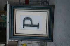 """Vintage Frame w/ Custom Metal Letter """"P"""""""