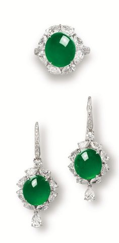 Imperial Green Jadeite, Diamond and 18K White Gold Earrings and Ring Just Beautiful.... Slvh❤❤❤❤