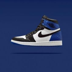 FRAGMENT DESIGN × NIKE AIR JORDAN 1 RETRO BLACK/SPORT ROYAL-WHITE #sneaker