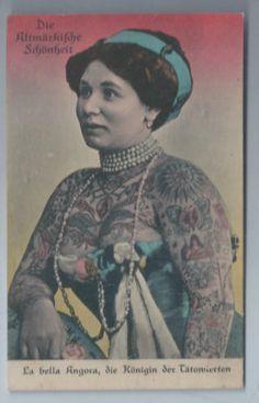 Original-Sideshow-Freak-Real-Photo-Postcard-Tattooed-Lady-Tattoo-Woman-Oddity