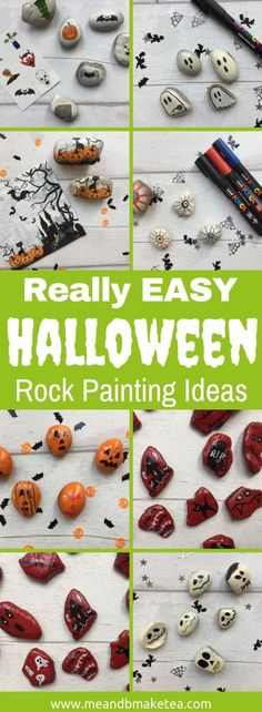 7 Really simple Halloween Rock Painting and Pebble decorating ideas and designs | Read for ideas | #rockpainting #halloween #halloweenparty #pebblepainting Halloween Rocks, Easy Halloween, Halloween Crafts, Pebble Painting, Rock Painting, Crafts For Kids, Arts And Crafts, Napkin Decoupage, Rock And Pebbles