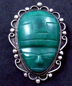 Vintage Taxco Mexican Sterling Silver Jade Tiki by DisorderlyGirl, $60.00