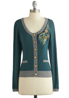 Plume and Bloom Cardigan by Nick & Mo - Green, Grey, Solid, Buttons, Embroidery, Long Sleeve, Better, Green, Long Sleeve, Knit, Short, Pocke...