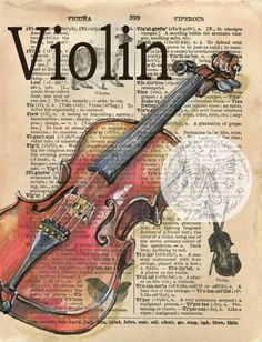 PRINT: Violin Mixed Media Drawing on Antique Dictionary Print: Violine Mixed Media Zeichnung auf Antique Dictionary Altered Books, Violin Art, Violin Drawing, Violin Music, Newspaper Art, Book Page Art, Dictionary Art, Shoe Art, Charcoal Drawings