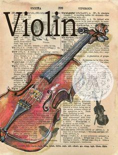 IMPRESIÓN: Violín mezclado medios dibujo antiguo Diccionario