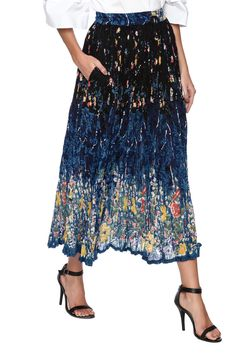 Navy blue printed maxi crinkle skirt with an elastic waist, and a right side pocket.   Broomstick Skirt by Magic Scarf. Clothing - Skirts - Maxi Vermont