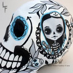 Sailor Pirate Paper Mache Sugar Skull Day of by BlackWillowGallery, $55.00
