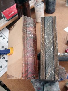 Marbled fore edges of books ready for #bookbinding