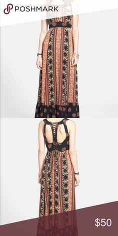 Free people lace tie dress 4 Free people dress. Beautiful details. Only wore 1 time. I'm 5 feet tall it's altered at to  my shin. If you need measurements please leave me a comment. Thanks 🤗 Free People Dresses Maxi