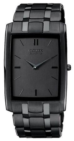 Citizen Mens Eco-Drive Stiletto Stainless Watch - Black Bracelet - Black Dial