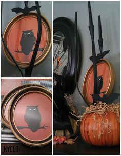 ::: FOCAL POINT :::: Thrifty Halloween DIY Owl Wall Art Under $6