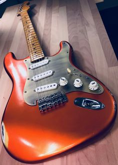 """Post-Modern Relic Candy Tangerine Stratocaster Custom Shop handcrafted by S71 Guitars. Wildwood California Alder body Reliced by MJT USA, AllParts Houston """"V"""" shape neck, Handwound Vintage Mongrel Pickups and Gotoh Japan Hardware. -S71Guitars-"""