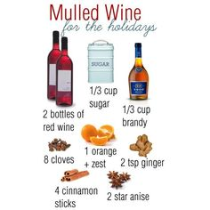 """""""Mulled Wine Recipe"""" would be yummy, but need to half the recipe since I'm the only one who drinks wine. Christmas Drinks, Holiday Drinks, Party Drinks, Cocktail Drinks, Christmas Baking, Fun Drinks, Yummy Drinks, Holiday Recipes, Alcoholic Drinks"""