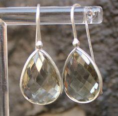 Sterling Silver Prasolite / Green Amethyst Drop Earrings by tro88, $40.00