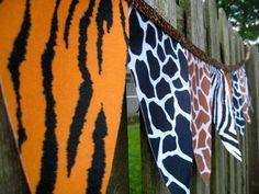 Bunting Animal Print Felt Pennant Banner by ElegantEvee on Etsy Jungle Party, Safari Party, Safari Theme, Jungle Safari, Jungle Theme, Zoo Birthday, 6th Birthday Parties, Baby First Birthday, Happy Birthday
