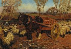 Artwork by Sir Alfred James Munnings, Horse and tumbril with sheep, Made of oil on canvas